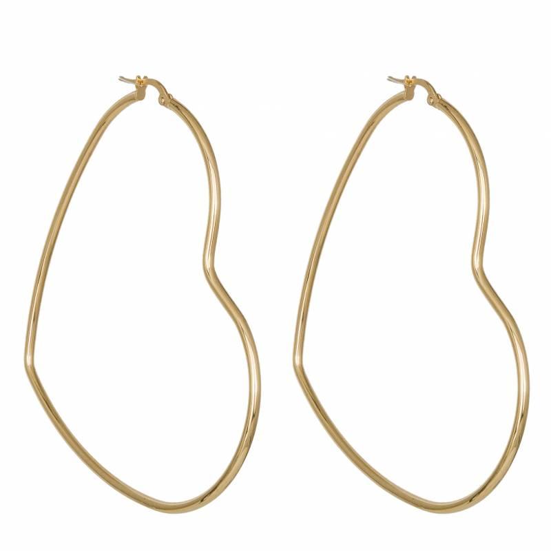 Γυναικεία σκουλαρίκια Κ14 κρίκοι σε σχήμα καρδιάς 034715 034715 Χρυσός 14 Καράτια