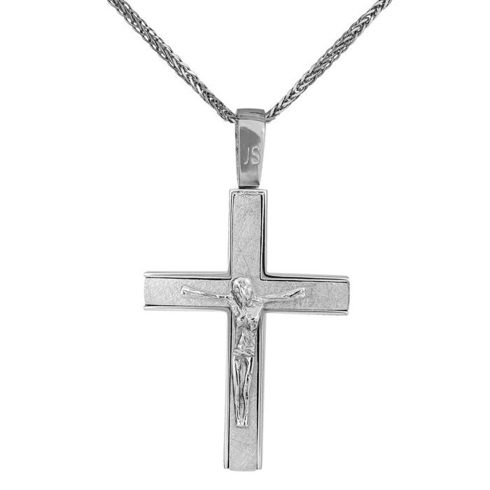 Βαπτιστικοί Σταυροί με Αλυσίδα Ανδρικός λευκόχρυσος σταυρός αρραβώνα Κ14 σετ με αλυσίδα 034792C 034792C Ανδρικό Χρυσός 14 Καράτια