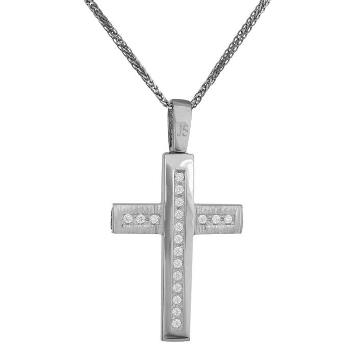 Βαπτιστικοί Σταυροί με Αλυσίδα Γυναικείος λευκόχρυσος σταυρός αρραβώνα Κ14 με αλυσίδα 034796C 034796C Γυναικείο Χρυσός 14 Καράτια