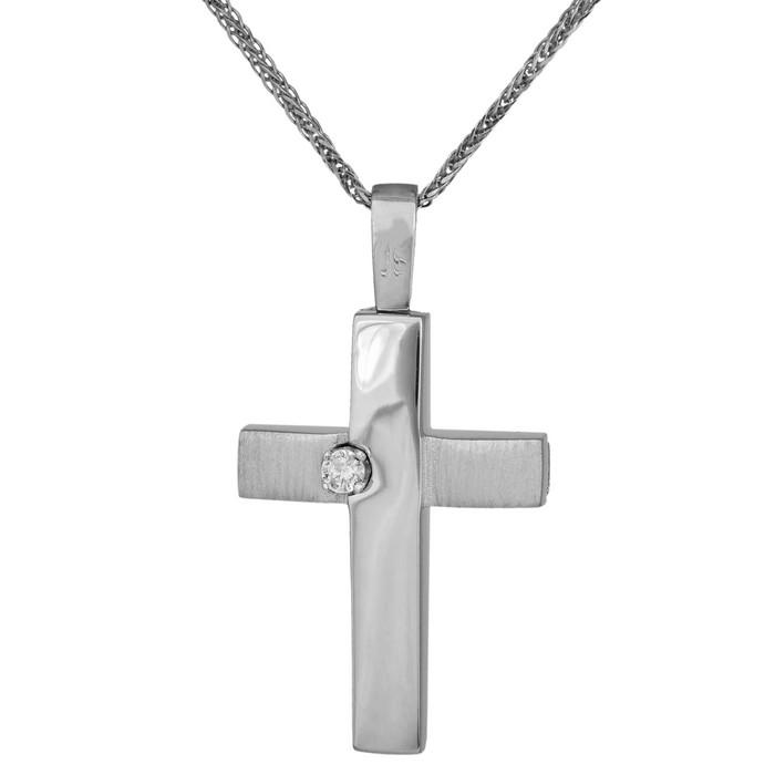 Βαπτιστικοί Σταυροί με Αλυσίδα Λευκόχρυσος σταυρός με αλυσίδα Κ14 με ζιργκονάκι 034802C 034802C Γυναικείο Χρυσός 14 Καράτια