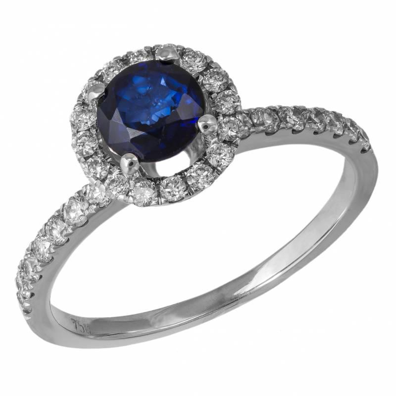 Λευκόχρυσο δαχτυλίδι Κ18 με ζαφείρι και μπριγιάν 034851 034851 Χρυσός 18 Καράτια