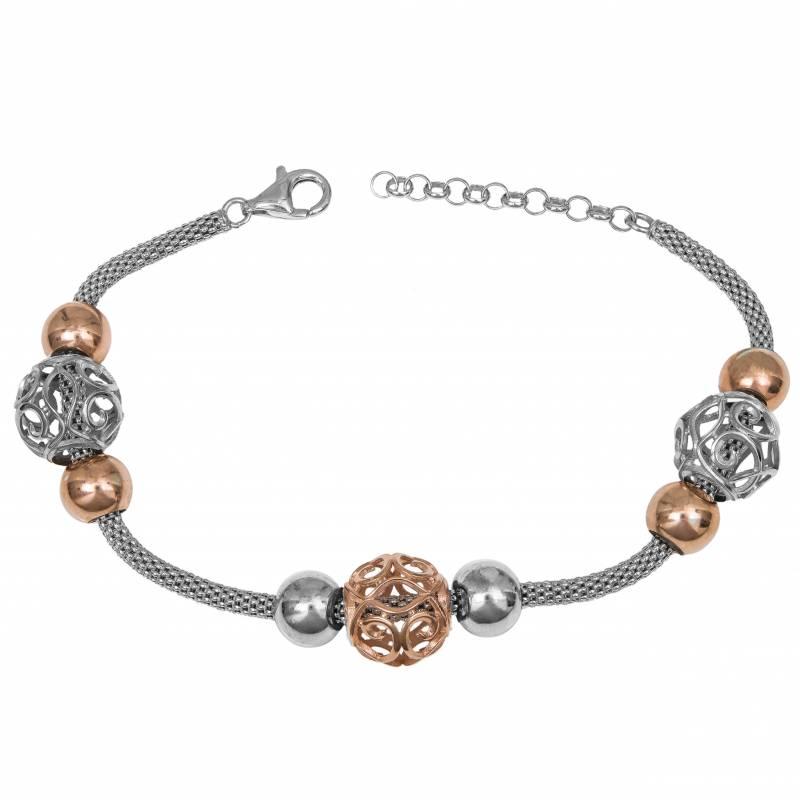 Δίχρωμο γυναικείο βραχιόλι 925 silver pink gold 034924 034924 Ασήμι