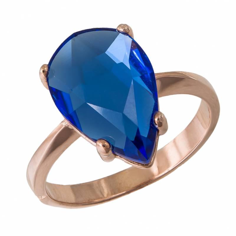 Ροζ μονόπετρο δαχτυλίδι 925 Blue Swarovski 034964 034964 Ασήμι
