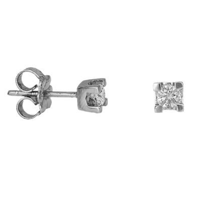 Λευκόχρυσα καρφωτά σκουλαρίκια Κ18 με μπριγιάν 035068 035068 Χρυσός 18 Καράτια