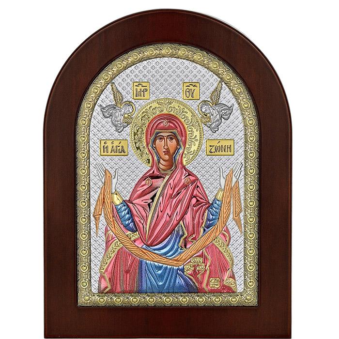 Ασημένια εικόνα της Αγίας Ζώνης 925 με σμάλτο 035071 035071 Ασήμι