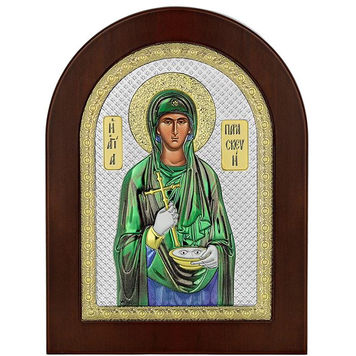 Ασημένια έγχρωμη εικόνα της Αγίας Παρασκευής 035074 035074 Ασήμι