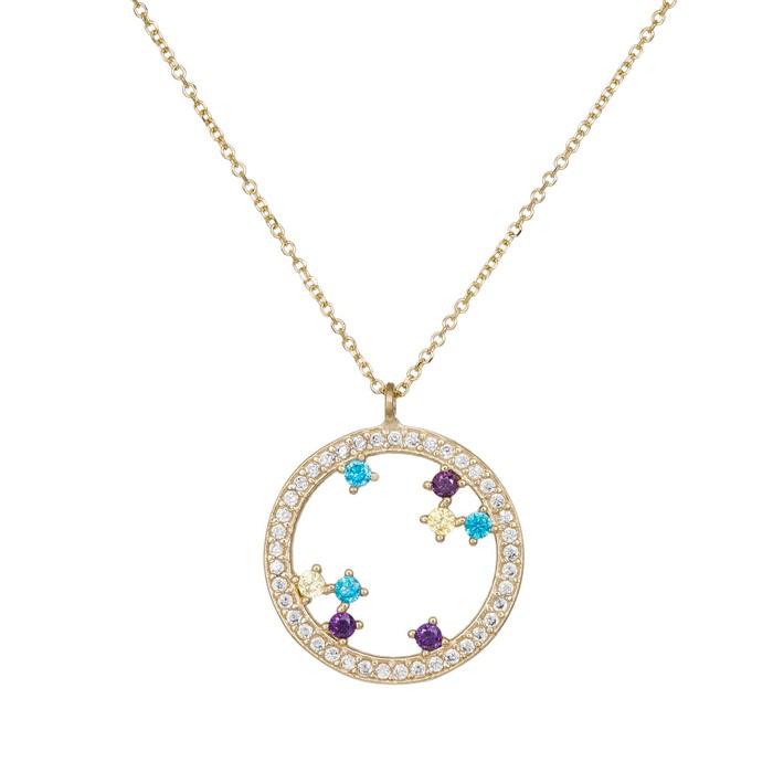 Χρυσό γυναικείο κολιέ Κ14 κύκλος με πολύχρωμα ζιργκόν 035262 035262 Χρυσός 14 Καράτια