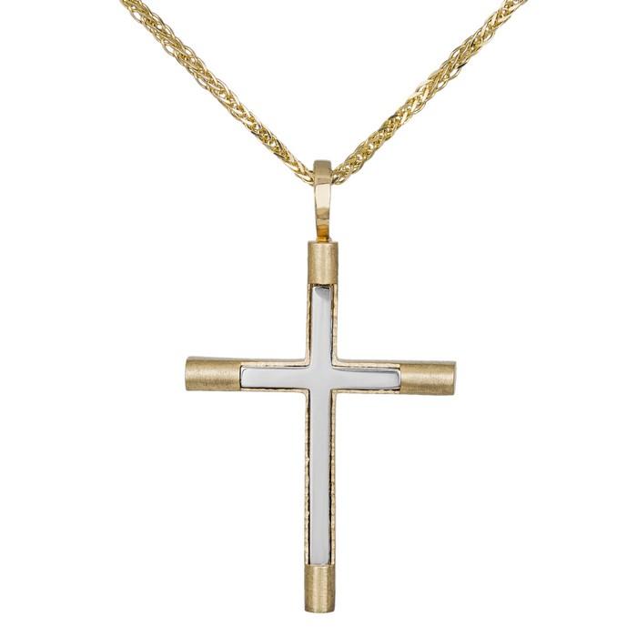 Βαπτιστικοί Σταυροί με Αλυσίδα Ανδρικός δίχρωμος σταυρός αρραβώνα σετ με αλυσίδα Κ14 035288C 035288C Ανδρικό Χρυσός 14 Καράτια