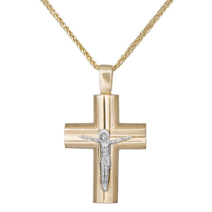 Βαπτιστικοί Σταυροί με Αλυσίδα Χειροποίητος σταυρός αρραβώνα με αλυσίδα Κ14 με τον Εσταυρωμένο 035302C 035302C Ανδρικό Χρυσός 14 Καράτια