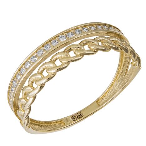 Γυναικείο χρυσό δαχτυλίδι Κ14 με μοτίφ αλυσίδα 035343 035343 Χρυσός 14 Καράτια