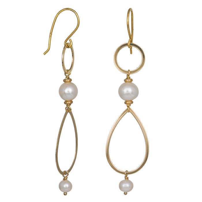 Γυναικεία χρυσά σκουλαρίκια Κ14 κρεμαστά με μαργαριτάρια 035393 035393 Χρυσός 14 Καράτια