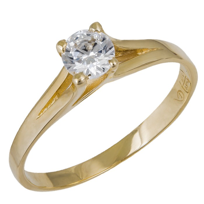 Χρυσό γυναικείο μονόπετρο Κ14 με λευκή πέτρα ζιργκόν 035423 035423 Χρυσός 14 Καράτια