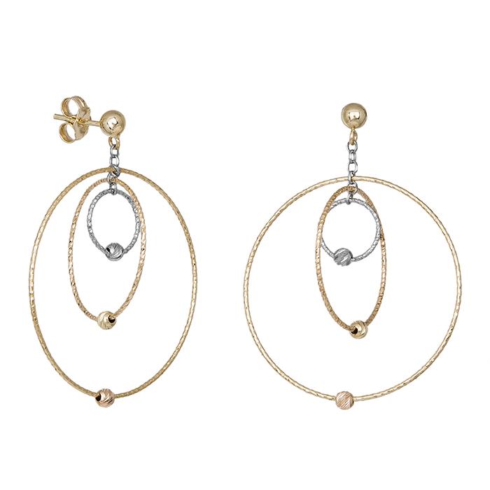 Γυναικεία σκουλαρίκια Κ14 με τρίχρωμους κύκλους 035480 035480 Χρυσός 14 Καράτια