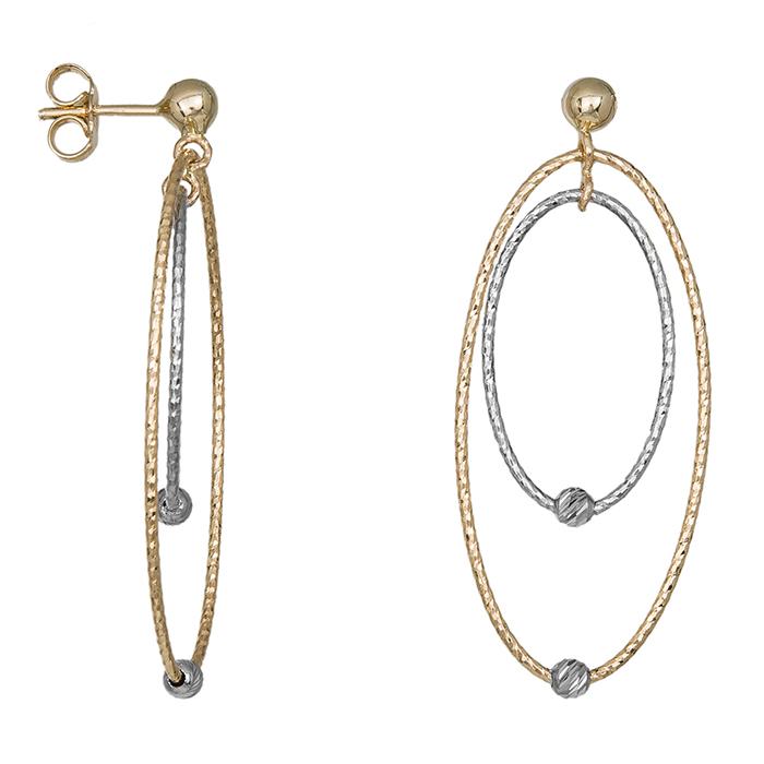 Γυναικεία κρεμαστά σκουλαρίκια Κ14 με διπλά οβάλ 035481 035481 Χρυσός 14 Καράτια