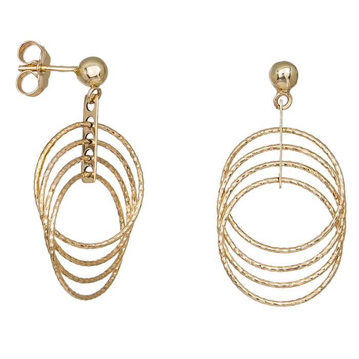Γυναικεία χρυσά σκουλαρίκια με κρεμαστούς κύκλους Κ14 035483 035483 Χρυσός 14 Καράτια