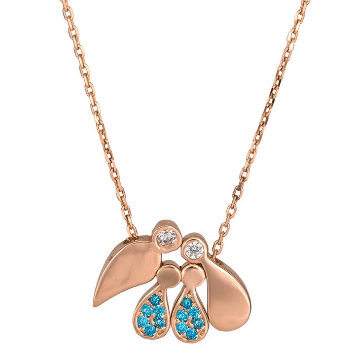 Γυναικείο ροζ gold κολιέ Κ14 με δύο αγοράκια 035511 035511 Χρυσός 14 Καράτια