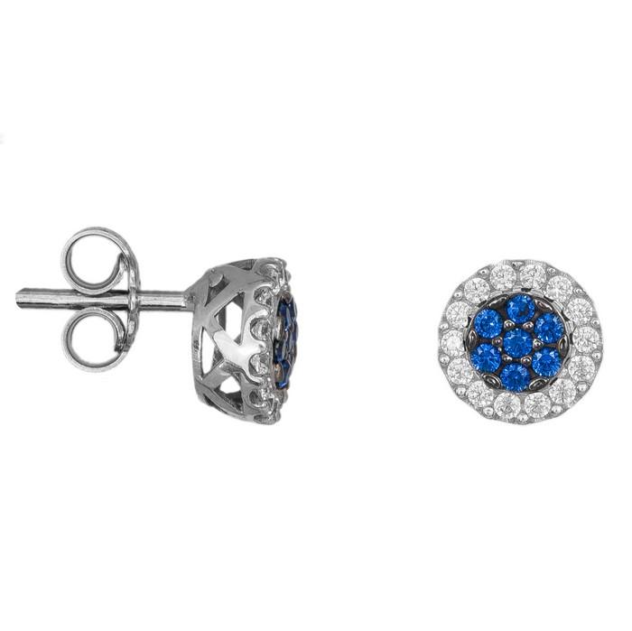 Λευκόχρυσα γυναικεία σκουλαρίκια Κ14 με μπλε ζιργκόν 035574 035574 Χρυσός 14 Καράτια