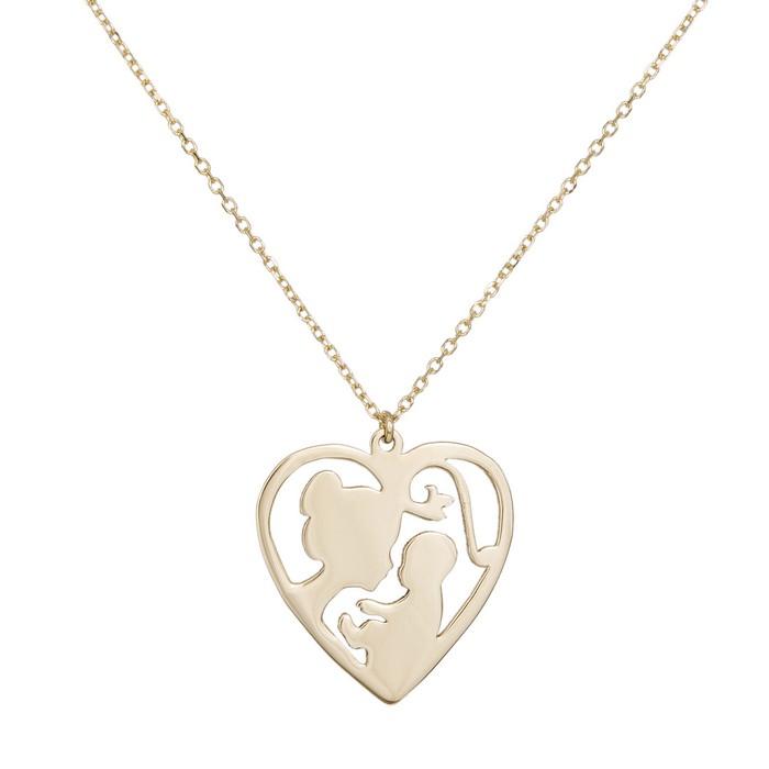 Κολιέ Κ9 μαμά μωρό σε καρδιά 035741 035741 Χρυσός 9 Καράτια