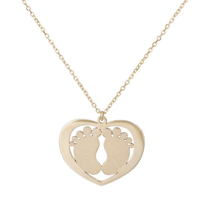 Χρυσό κολιέ Κ9 πατουσάκια σε καρδιά 036102 036102 Χρυσός 9 Κ...