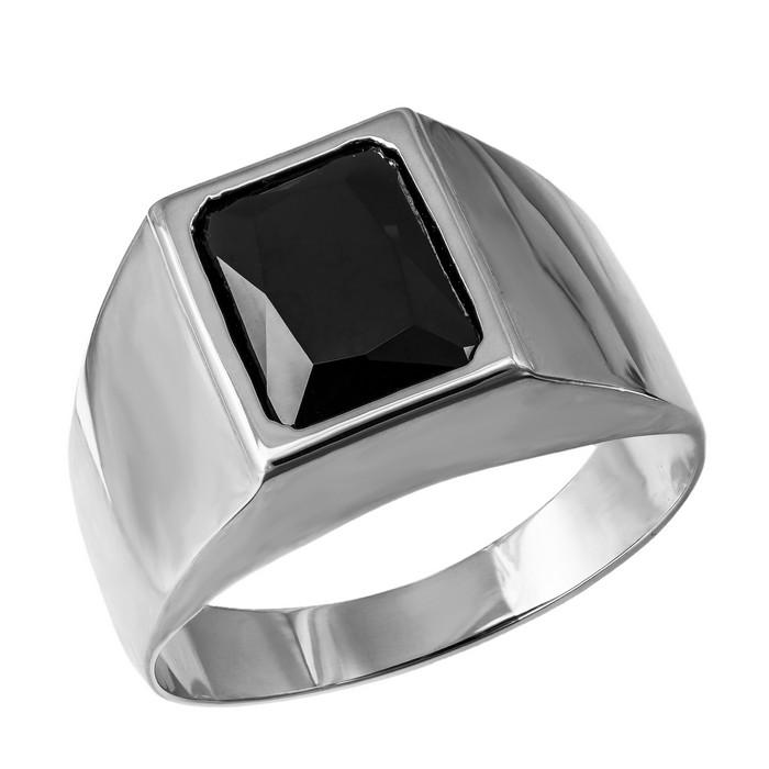 Ανδρικό λευκόχρυσο δαχτυλίδι Κ14 με ορθογώνιο ζιργκόν 035656 035656 Χρυσός 14 Καράτια