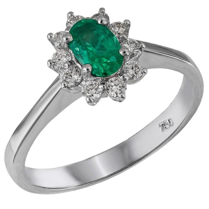 Δαχτυλίδι ροζέτα από λευκόχρυσο Κ18 με Σμαράγδι και Διαμάντια 035660 035660 Χρυσός 18 Καράτια