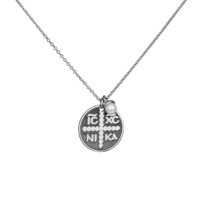 Γυναικείο ασημένιο φυλαχτό 925 με κρεμαστό μαργαριταράκι 035708 035708 Ασήμι