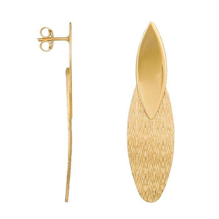 Ανάγλυφα οβάλ σκουλαρίκια από επιχρυσωμένο ασήμι 925 035770 035770 Ασήμι