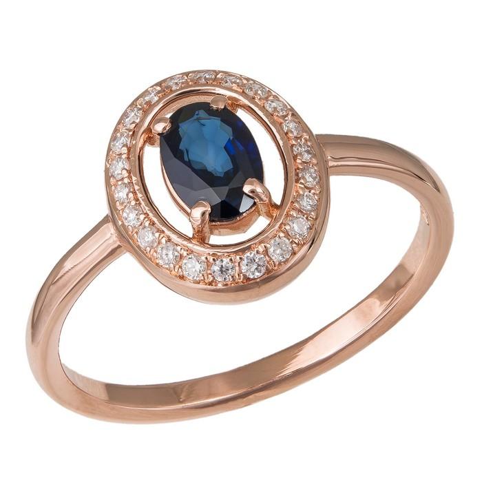 Ροζ gold δαχτυλίδι Κ18 οβάλ ροζέτα με ζαφείρι και μπριγιάν 036114 036114 Χρυσός 18 Καράτια