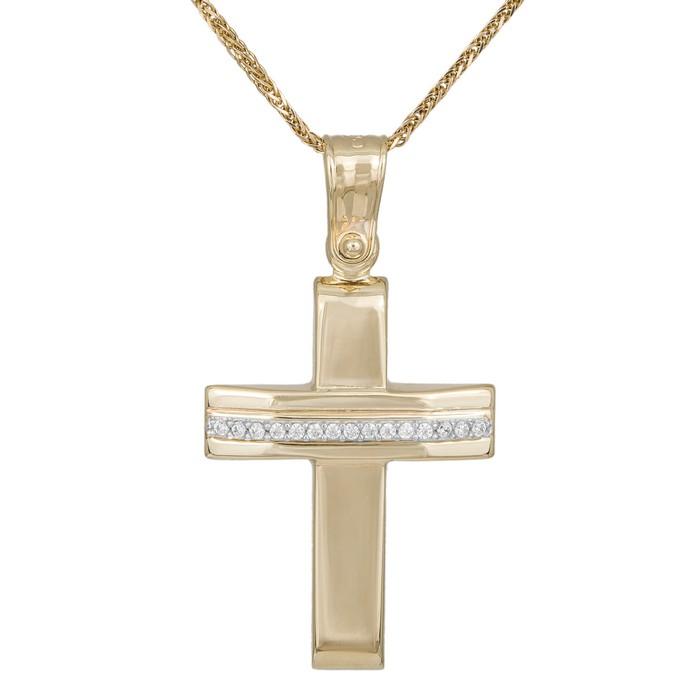 Βαπτιστικοί Σταυροί με Αλυσίδα Δίχρωμος βαπτιστικός σταυρός με αλυσίδα και ζιργκόν Κ9 036165C 036165C Γυναικείο Χρυσός 9 Καράτια