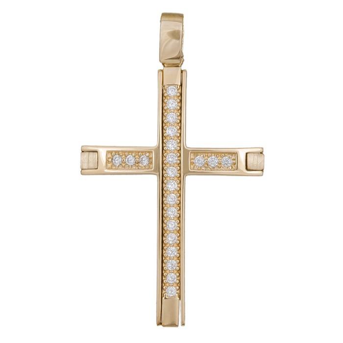 Σταυροί Βάπτισης - Αρραβώνα Γυναικείος σταυρός διπλής όψης με ζιργκόν Κ14 036375 036375 Γυναικείο Χρυσός 14 Καράτια