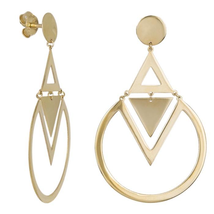 Χρυσά κρεμαστά σκουλαρίκια με γεωμετρικά σχήματα Κ14 036660 036660 Χρυσός 14 Καράτια