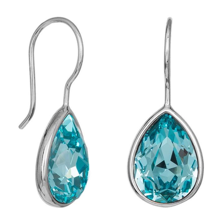 Ασημένια σκουλαρίκια με γαλάζια πέτρα 925 036821 036821 Ασήμι