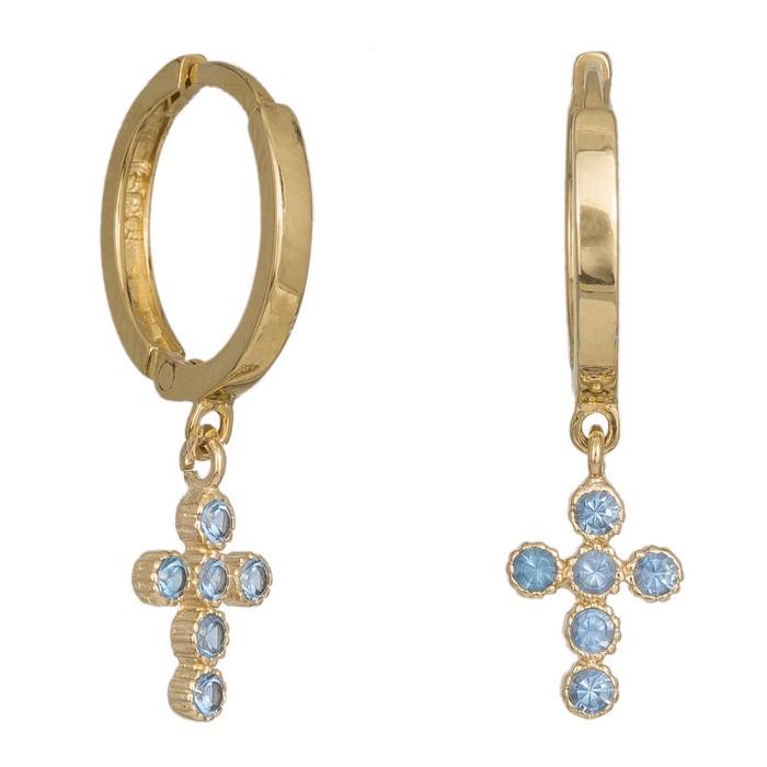 Σκουλαρίκια χρυσά Κ14 με κρεμαστό σταυρό 036848 036848 Χρυσός 14 Καράτια