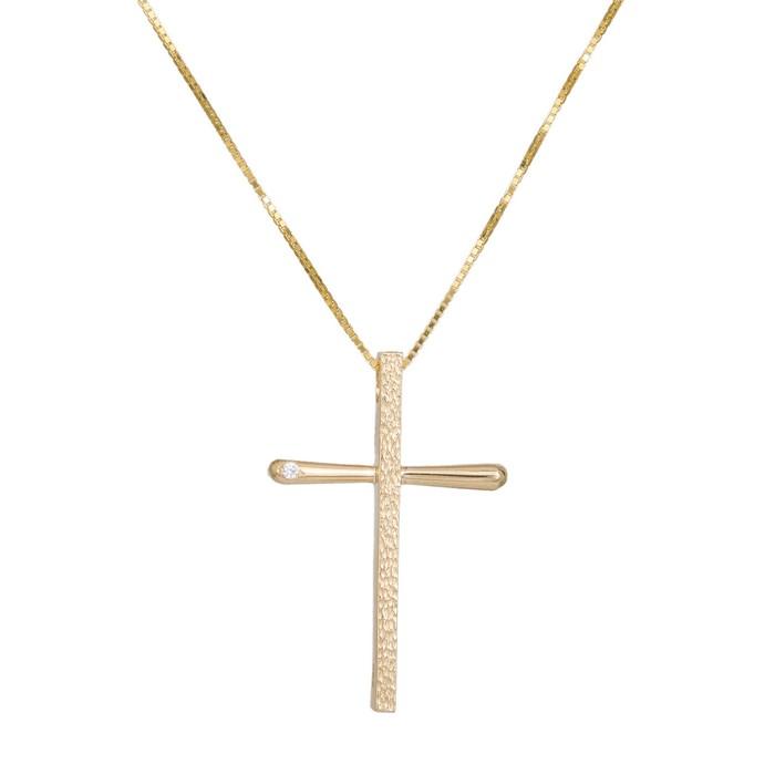 Βαπτιστικοί Σταυροί με Αλυσίδα Χρυσός σταυρός με αλυσίδα Κ14 036985C 036985C Γυναικείο Χρυσός 14 Καράτια