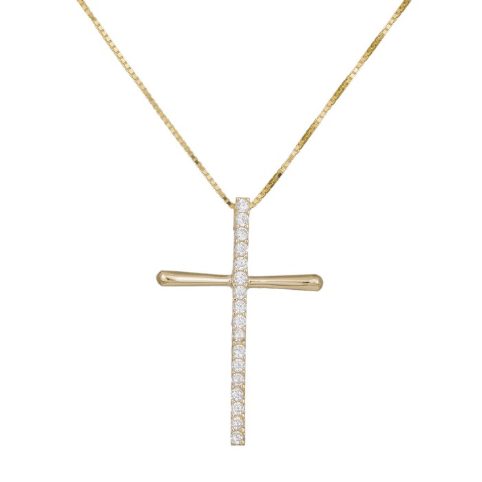 Βαπτιστικοί Σταυροί με Αλυσίδα Γυναικείος σταυρός με πέτρες Κ14 036989C 036989C Γυναικείο Χρυσός 14 Καράτια