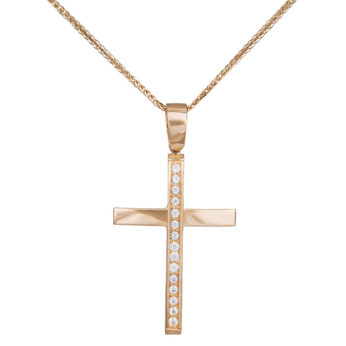 Βαπτιστικοί Σταυροί με Αλυσίδα Ροζ gold σταυρός για κορίτσι με αλυσίδα Κ14 036991C 036991C Γυναικείο Χρυσός 14 Καράτια