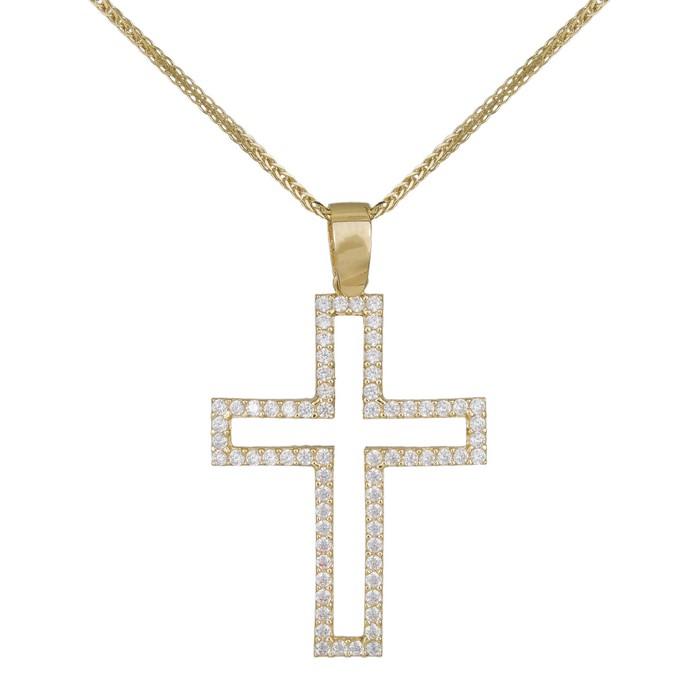 Βαπτιστικοί Σταυροί με Αλυσίδα Γυναικείος σταυρός με ζιργκόν Κ14 σετ με αλυσίδα 036994C 036994C Γυναικείο Χρυσός 14 Καράτια