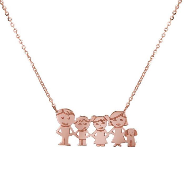 Γυναικείο κολιέ Κ14 οικογένεια με σκυλάκι 037236 037236 Χρυσ...