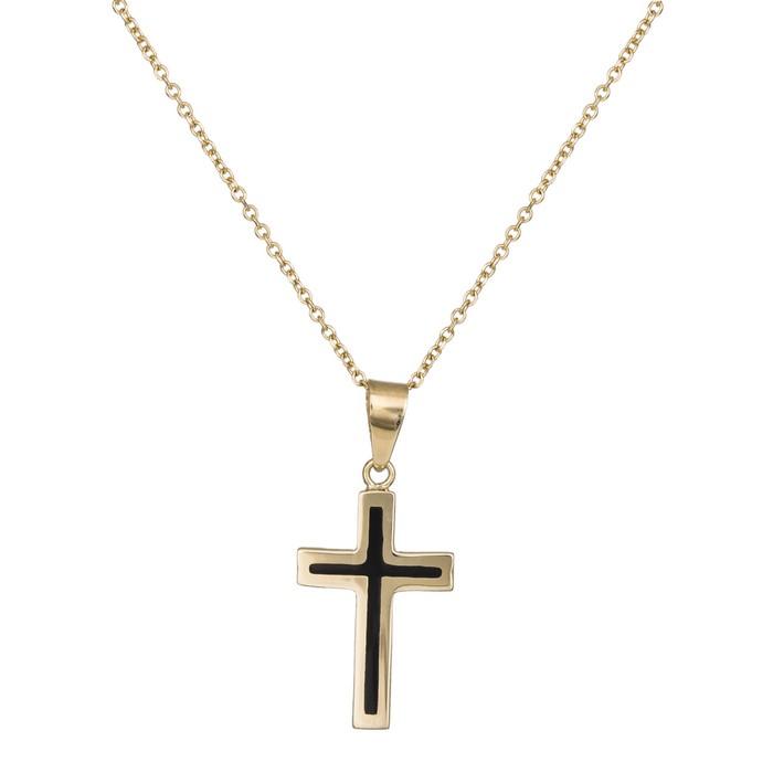 Γυναικείο κολιέ Κ14 σταυρός με μαύρο σμάλτο 037528C 037528C Χρυσός 14 Καράτια