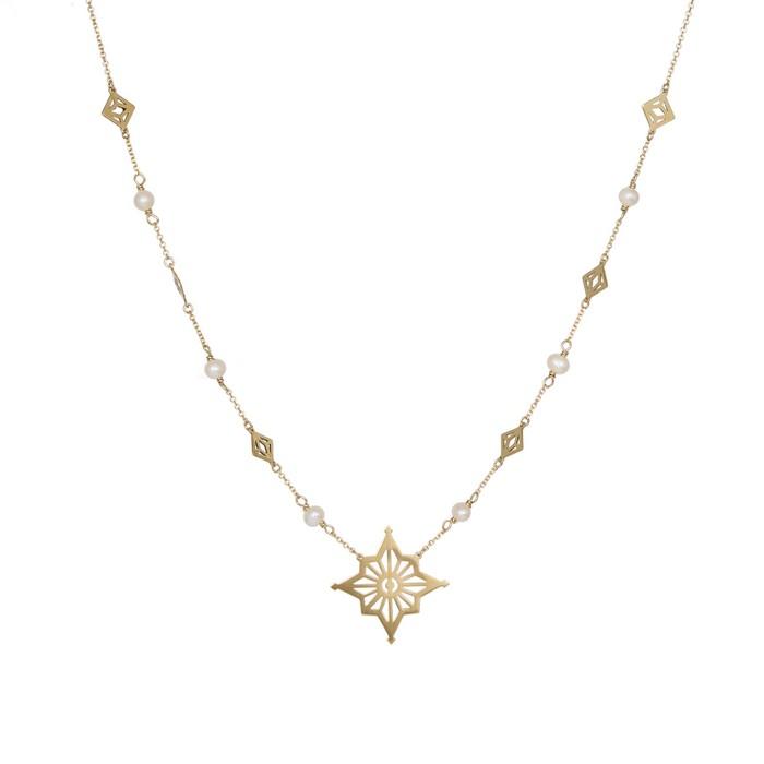 Χρυσό κολιέ ροζάριο Κ9 με μαργαριτάρια και αστέρι 037971 037971 Χρυσός 9 Καράτια