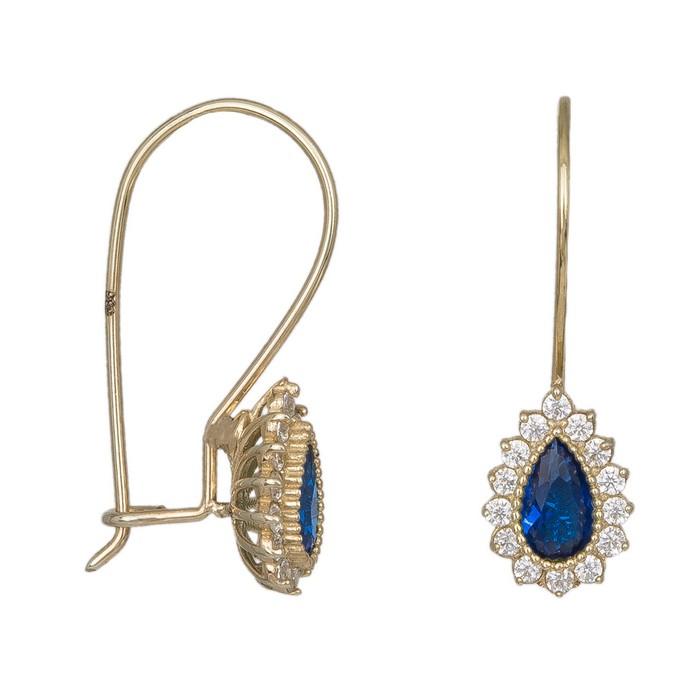 Γυναικεία σκουλαρίκια ροζέτα με μπλε πέτρα Κ14 038430 038430 Χρυσός 14 Καράτια