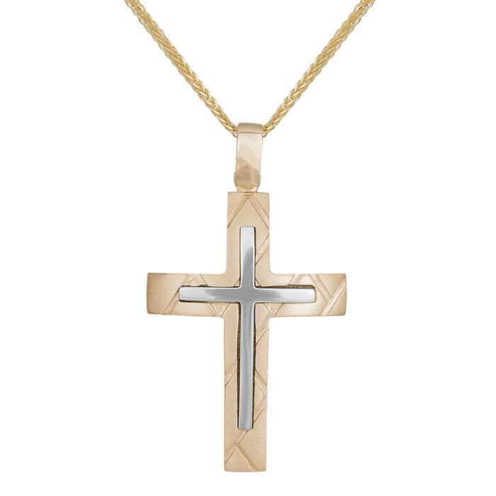 Βαπτιστικοί Σταυροί με Αλυσίδα Ανδρικός ανάγλυφος σταυρός με αλυσίδα Κ14 038681C 038681C Ανδρικό Χρυσός 14 Καράτια