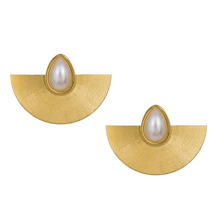 Γυναικεία σκουλαρίκια βεντάλια με μαργαριτάρια 925 038942 038942 Ασήμι