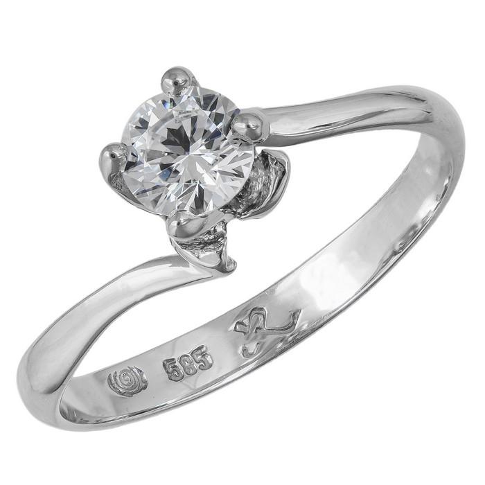 Μονόπετρο δαχτυλίδι με βάση λουλούδι Κ14 039373 039373 Χρυσός 14 Καράτια