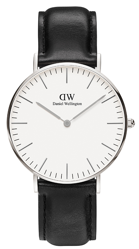 Γυναικείο ρολόι Daniel Wellington Shaffield Black Leather Strap Silver0608DW 0608DW Ατσάλι