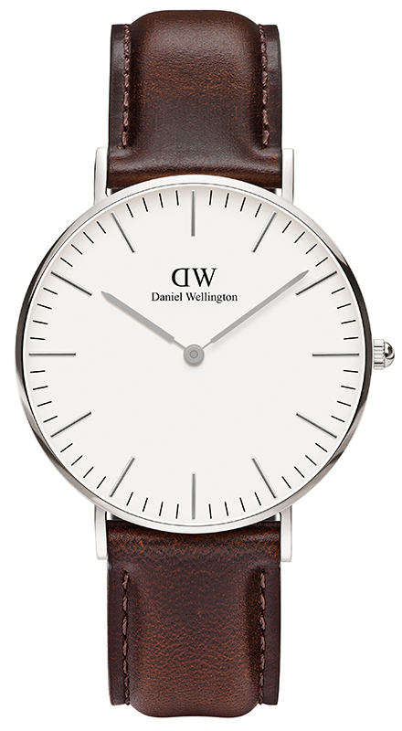 Ρολόι Daniel Wellington Bristol Brown Leather Strap Silver0611DW 0611DW Ατσάλι
