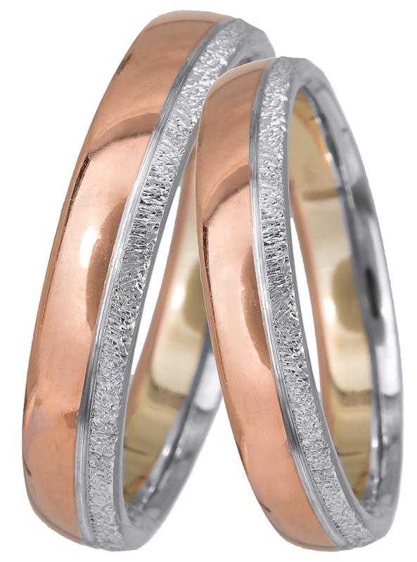 Βέρες από λευκό και ροζ gold Κ14 BR0405 Χρυσός 14 Καράτια