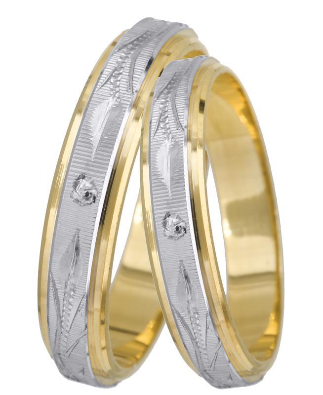 Βέρα με λευκό και κίτρινο χρυσό BRS012 Χρυσός 14 Καράτια