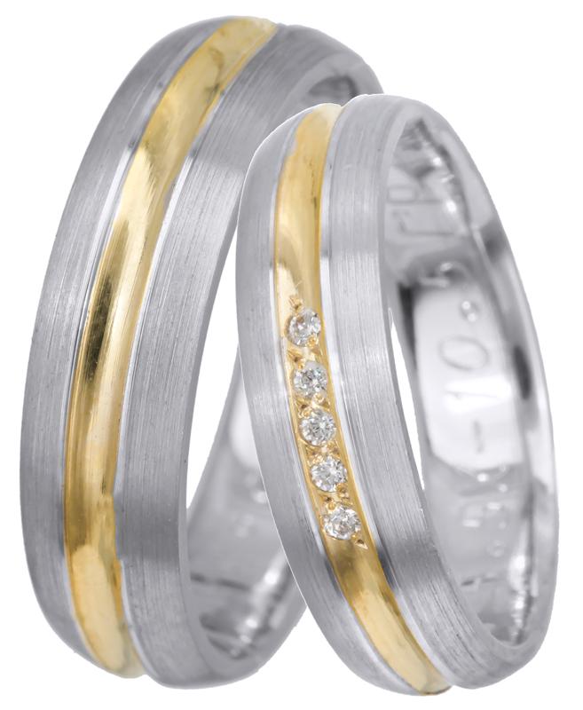 Δίχρωμη βέρα 9Κ 9BRS0713DP Χρυσός 9 Καράτια βέρες γάμου   αρραβώνα