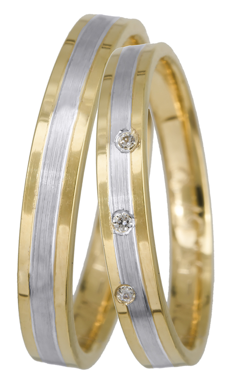 Βέρες γάμου πρωτότυπες Κ14 BRS0905DP BRS0905DP Χρυσός 14 Καράτια